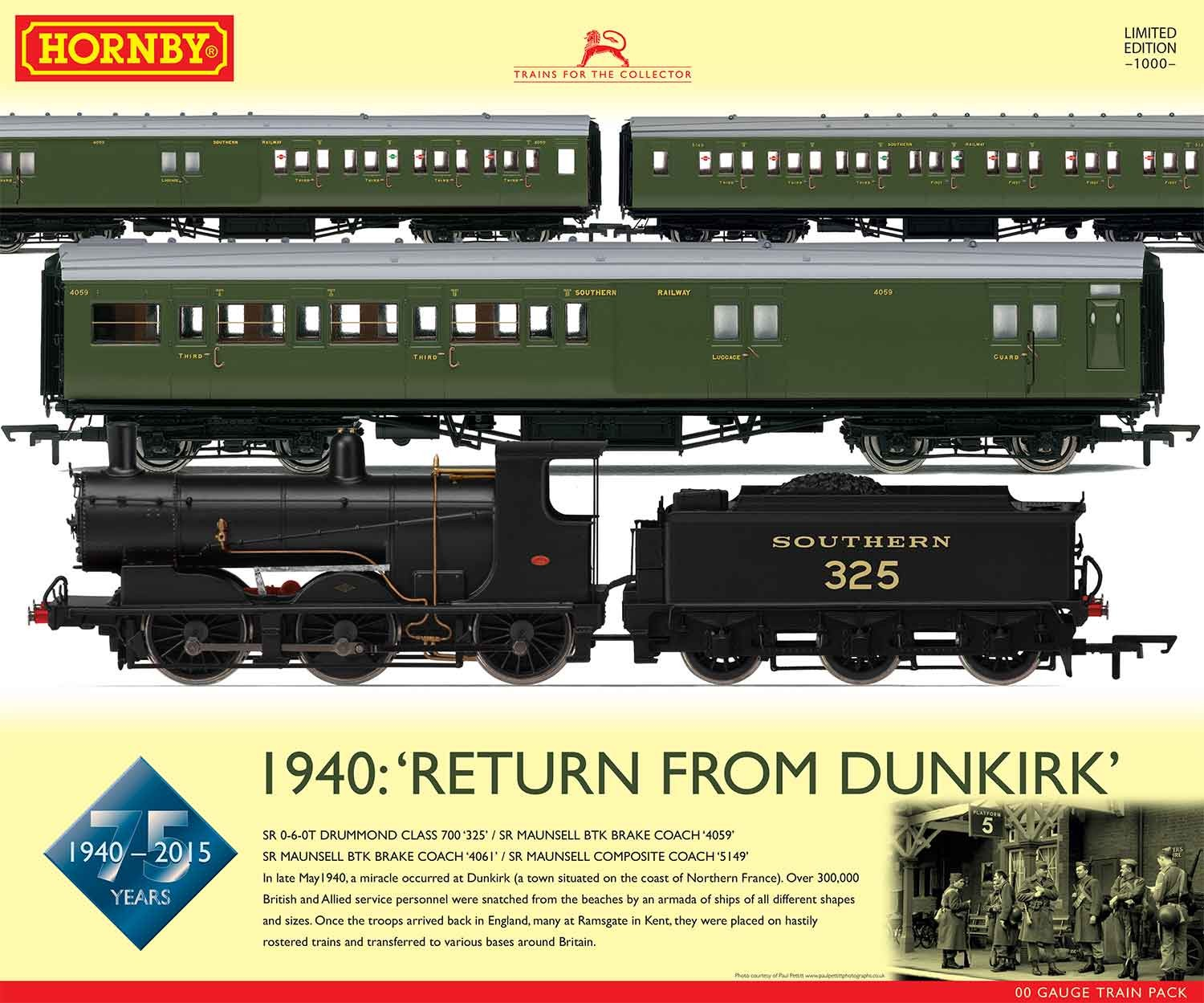 R3302 Hornby 1940 Return From Dunkirk Train Pack Certificated